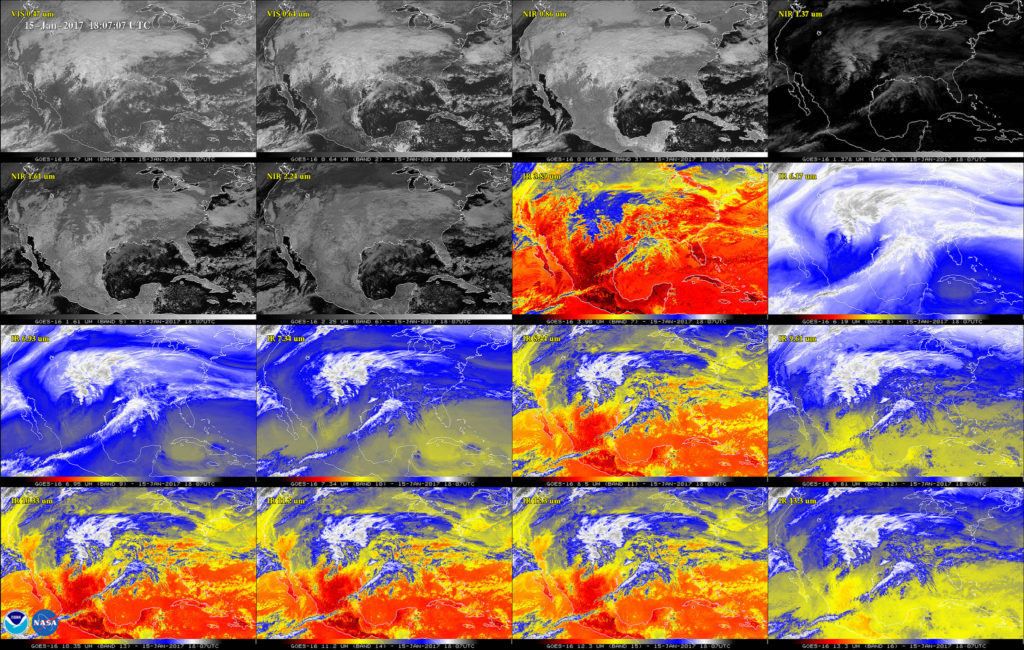 This 16-panel image shows the continental United States in the two visible, four near-infrared and 10 infrared channels on ABI. These channels help forecasters distinguish between differences in the atmosphere like clouds, water vapor, smoke, ice and volcanic ash. GOES-16 has three-times more spectral channels than earlier generations of GOES satellites. Credit: NASA/NOAA