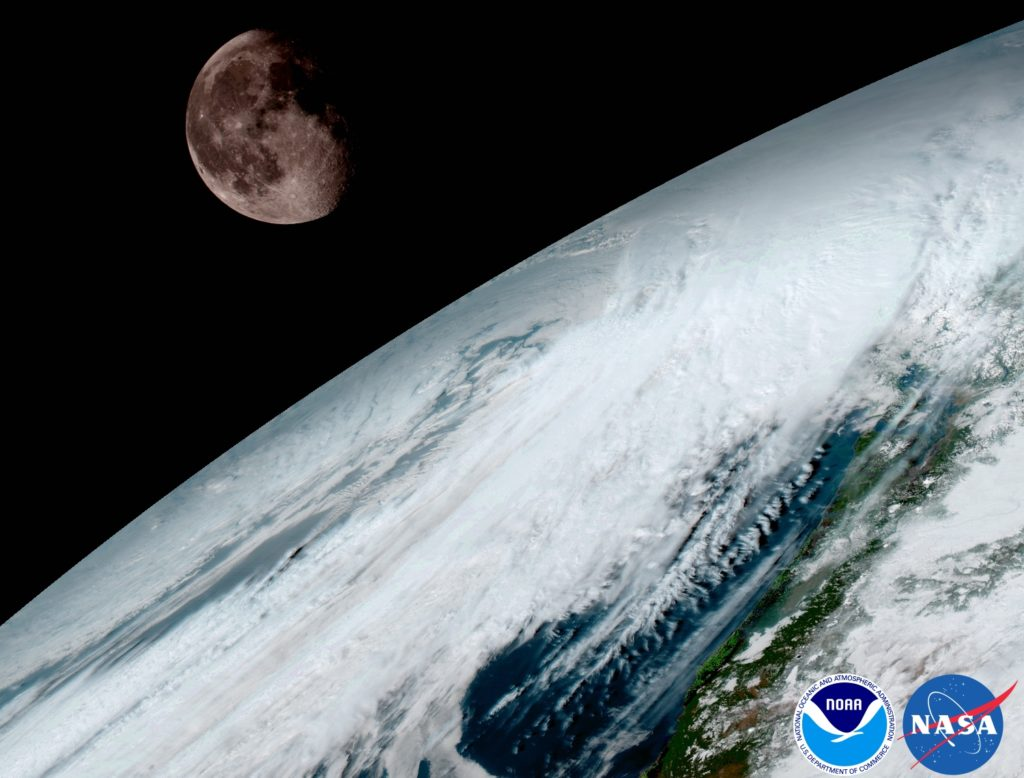 GOES-16 captured this view of the moon as it looked across the surface of the Earth on January 15. Like earlier GOES satellites, GOES-16 will use the moon for calibration. Credit: NASA/NOAA.
