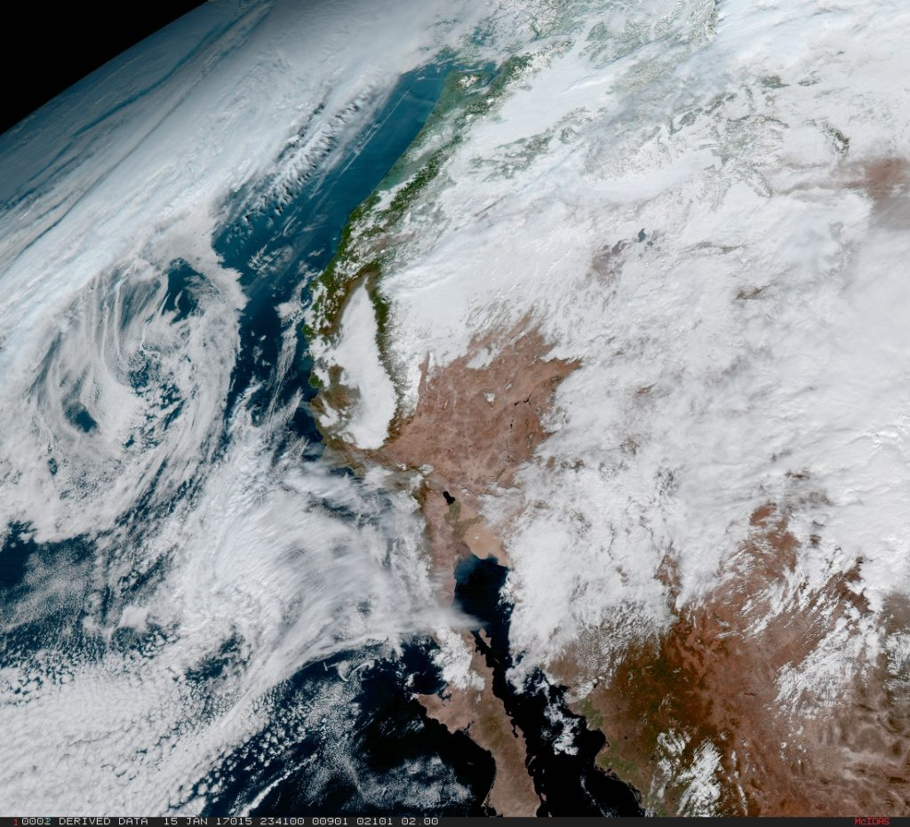 From its central location, GOES-16 captured this image of the west coast of the United States and the Baja Peninsula in Mexico. Once GOES-16 is determined to be operational as either GOES-East or GOES-West, GOES-S, the next spacecraft in the series, which is planned for launch in Spring 2018 will be moved into the other operational position as GOES-17. Credit: NASA/NOAA