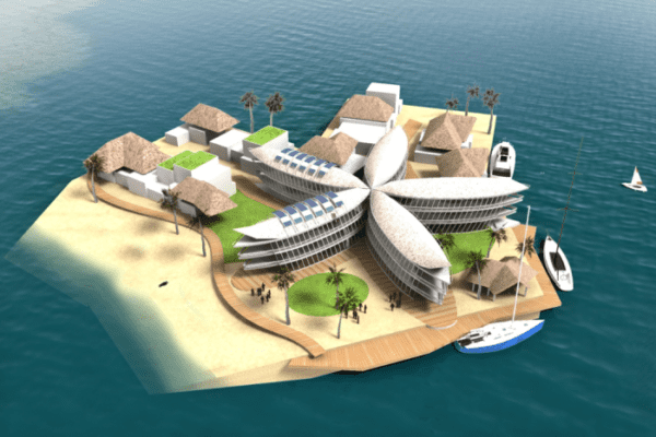 Illustration of a floating city prototype. Credit: The Seasteading Institute.