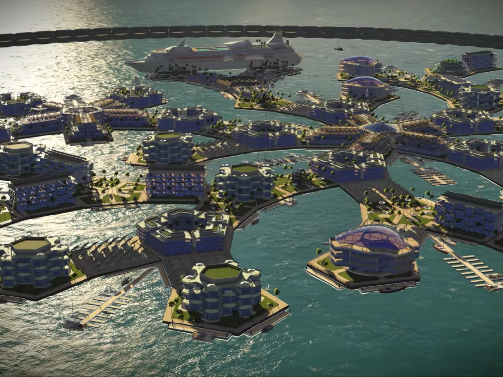 Artist impression of a floating city concept. Credit: Seasteading Institute.
