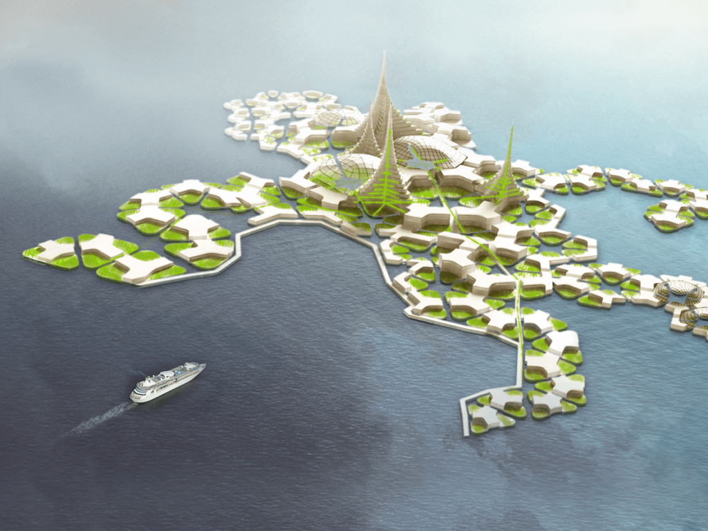 Yet another rendition of what a floating city might look like. The Seasteading Institute can't seem to makeup its mind. Perhaps this is all a pipe dream. Credit: Seasteading Institute.