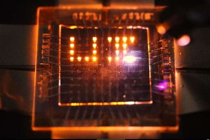These LEDs can emit, sense, and respond to light. Credit: Moonsub Shim, University of Illinois.