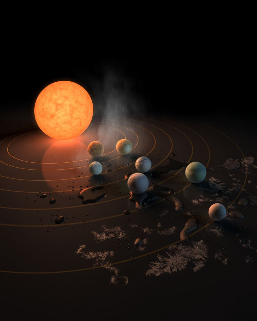 A sweet representation of the Trappist-1 system shows us where NASA scientists think we could find liquid water. The inner three planets are too hot and the outermost planet is likely too cold. Smack in the middle, though, three planets might just be lucky enough. Credit: NASA / JPL-Caltech.