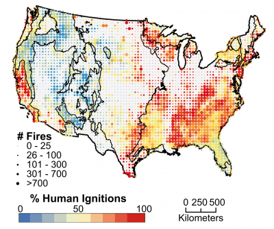 This chart put together by the researchers show human-triggered wildfire incidence around the country. Credit: PNAS.