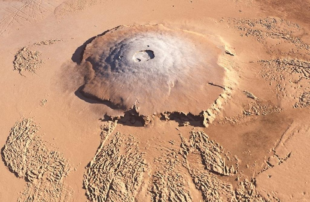 Olympus Mons, the largest volcano in the solar system. Credit: NASA.