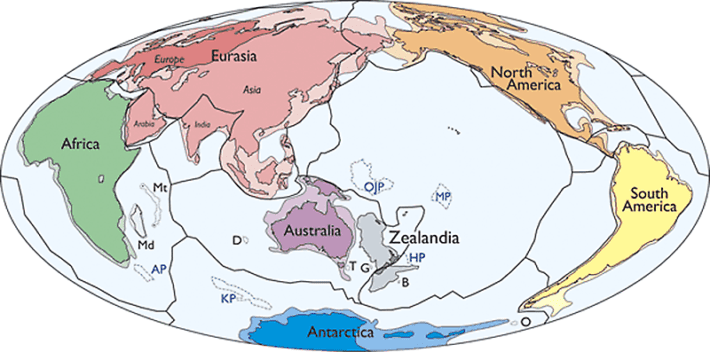 Zealandia is likely the seventh geological continent of the planet, an international panel of scientists claim in a new paper. Credit: N. Mortimer et al./GSA Today