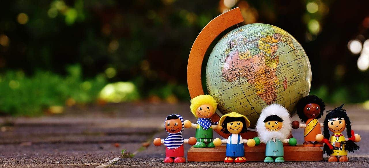 different nationalities children globe human toys race play figure toy child autumn friendship talk characters game figures together fun wood