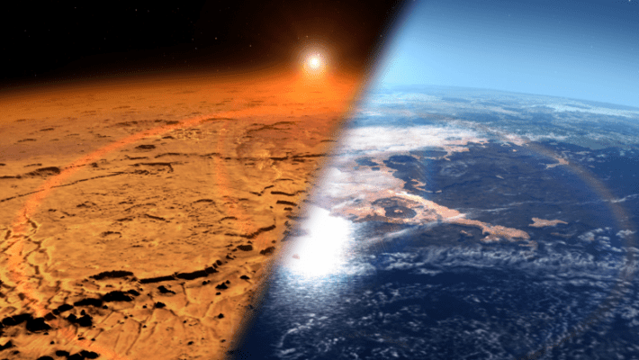 Artist's conception of modern Mars (left) and a younger, wetter Mars. Credit: NASA's Goddard Space Flight Center.