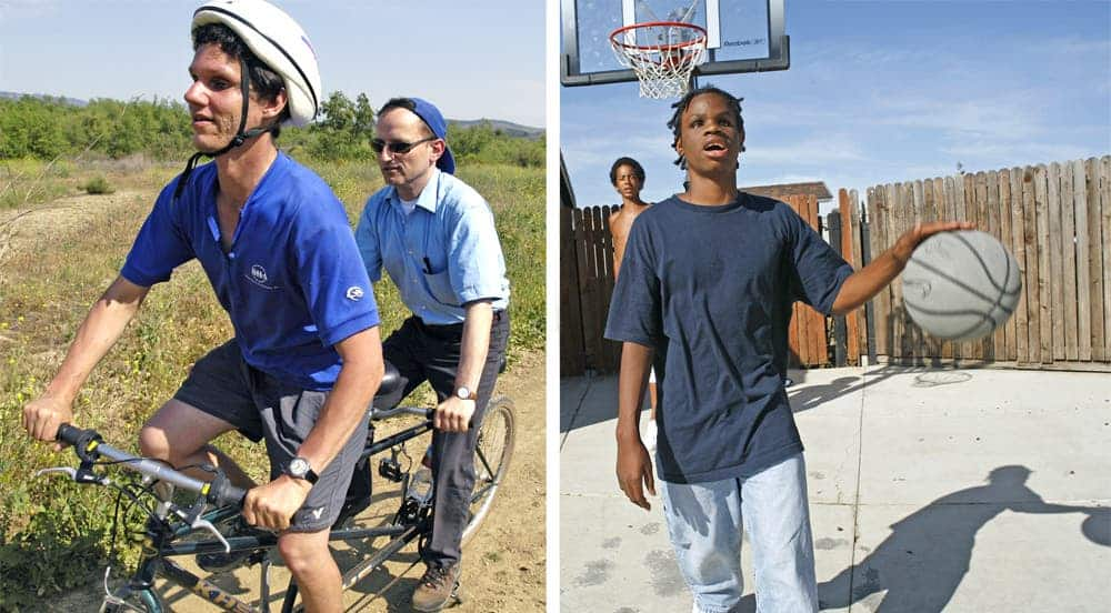 Left, Daniel Kish takes the lead on a tandem bike ride. Right, Ben Underwood, one of Kish's students, shown in 2006 playing basketball with a friend. Credit: Daniel Kish.