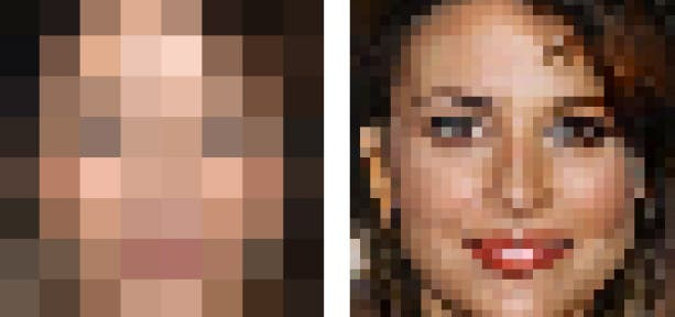 An 8x8 pixels source (left) vs. an upscaled version on the right. Credit: Google.