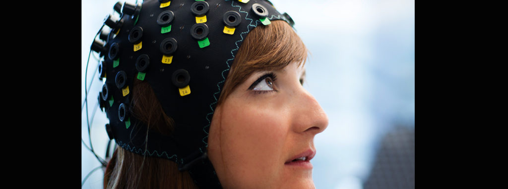 This non-invasive brain-computer interface (BCI) can detect the response of locked-in patients who are too disabled to communicate by measuring changes in blood oxygen levels in the brain. Credit: Wyss Center.