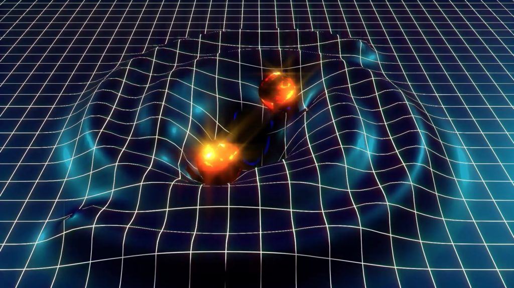 Artist impression of two merging black holes causing ripples in the space-time fabric. Credit: LIGO.