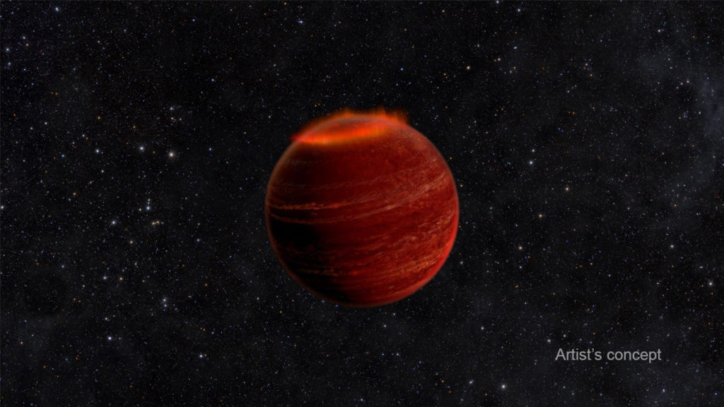 An artists' representation of a brown dwarf with polar auroras.