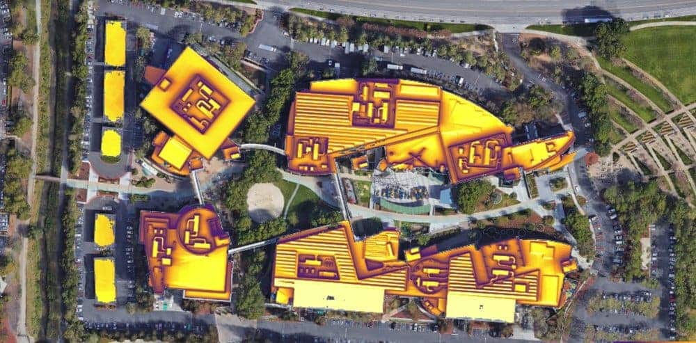 Solar potential of Googleplex in Mountain View, CA. Credit: Google.