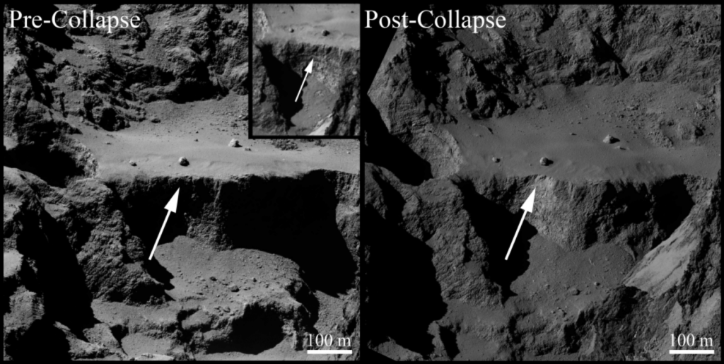 A 70 metre-long, 1 metre-wide fracture was created in the wake of the cliff's collapse. Take a moment to appreciate how sharp these images are -- taken by a spacecraft orbiting a freaking comet millions of miles away from Earth. Credit: ESA.
