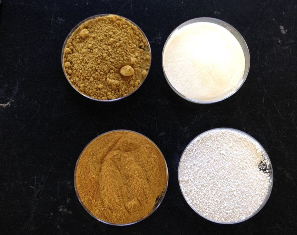 Grounded eggshells and tomato peel particles used to make a rubber composite for tires. Credit: Katrina Cornish