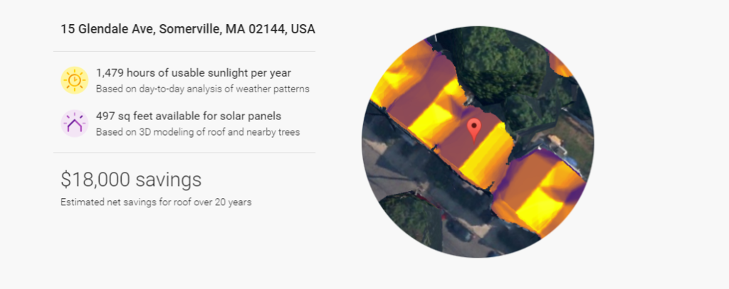 Sample result of query using the solar energy savings tool. Credit: Google.