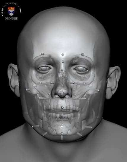 Facial reconstruction of Context 958. Image credit: Dr. Chris Rynn, University of Dundee