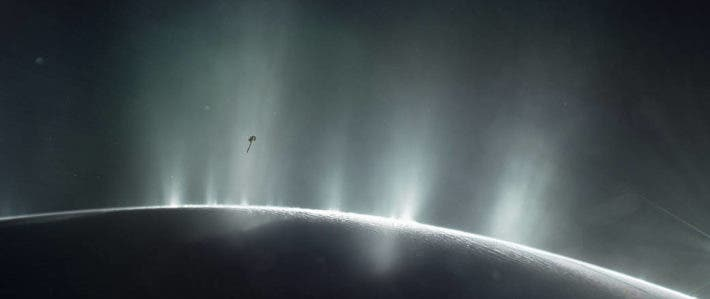 Cassini spacecraft diving through the plume of Saturn's moon Enceladu