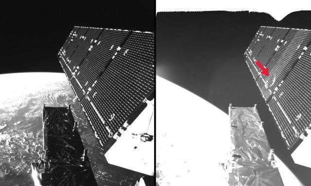 The Sentinel-1A radar imaging satellite was struck on one of its solar panels last August by a piece of space debris. The satellite is still operational but the event gave everyone a big scare. It's been used as an example at ESA's recent conference on space junk. Credit: ESA.