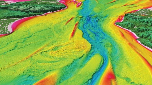 The seabed of the English Channel is marked by features that clearly show a mega flood gush. There were actually two megafloods, the latter likely triggered by an earthquake. Credit: Imperial College London.