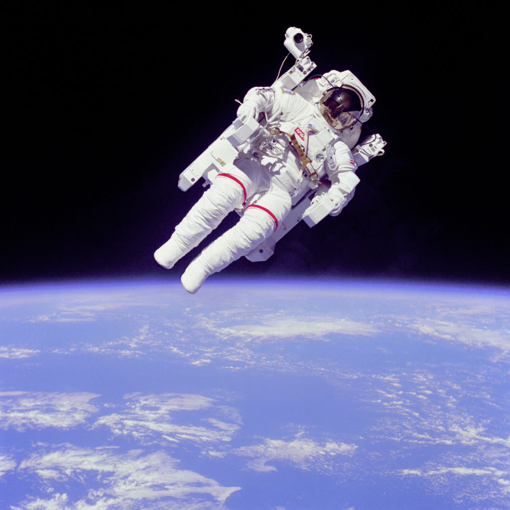 Astronauts still use Apollo-era designed space suits. Credit: Wikimedia Commons.