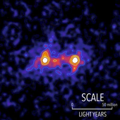 Dark matter filaments bridge the space between galaxies in this false colour map. Credit: S. Epps & M. Hudson / University of Waterloo