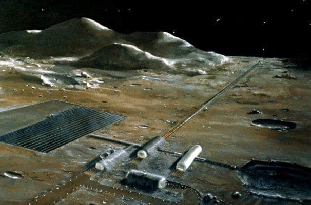 A lunar base concept drawing. Credit: Wikimedia Commons.