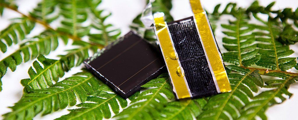 The breakthrough electrode prototype (right) can be combined with a solar cell (left) for on-chip energy harvesting and storage. Credit: RMIT.