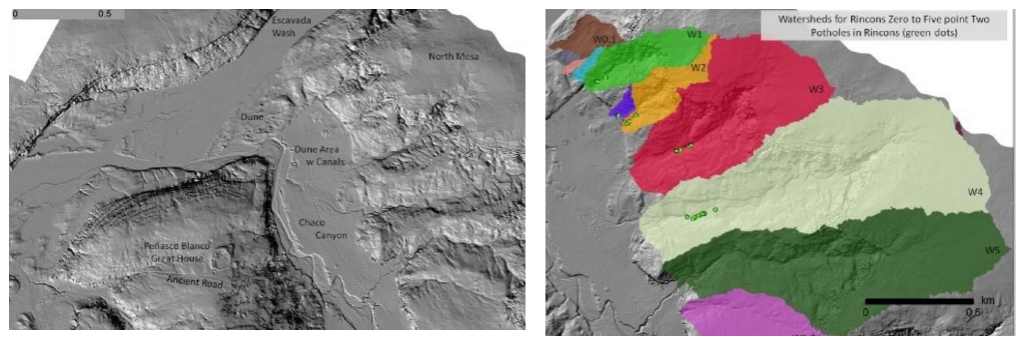 LIDAR images of the elevation levels in Chaco Canyon, New Mexico reveal ancient dunes, canals, building structures and rincon watershed areas. Credit: Christopher Carr.