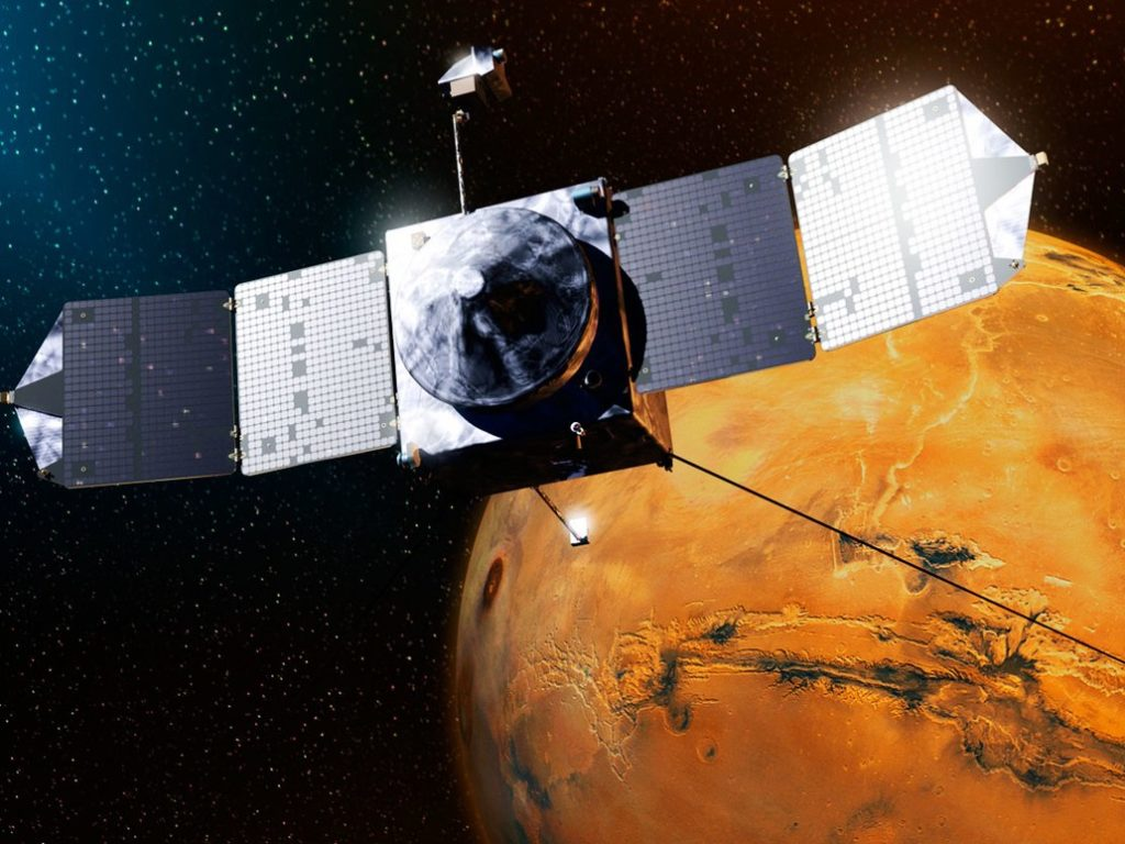 Artist impression of MAVEN spacecraft. Credit: NASA.