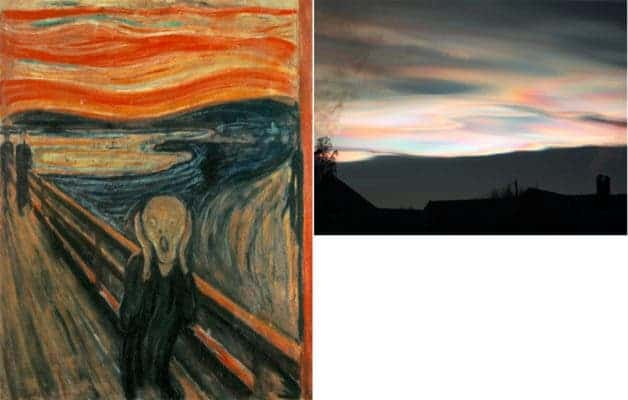 Left: The Scream by Edvard Munch; Right: Mother-of-pearl clouds near Oslo, Norway, half an hour after sunset. Credit: Svein M. Fikke.