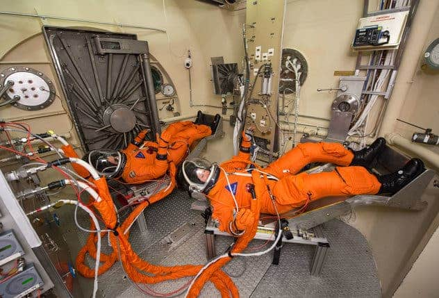 Tests of the spacesuits astronaut will wear on the Orion spacecraft slated for 2021. Credit: NASA.