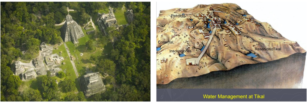 Aerial view of present-day Tikal's ancient building structures in Guatemala, Central America, alongside an illustration of water management canals and reservoirs at the ancient site. Credit: David Lentz / Vern Scarborough.
