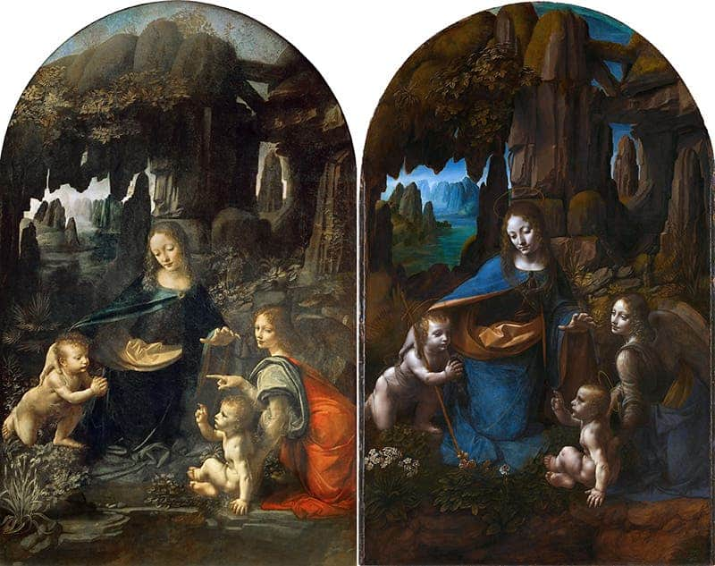 (left) The Virgin of the Rocks by Leonardo da Vinci at the Louvre Museum in Paris. (right) Another Virgin of the Rocks painting at the National Gallery in London, attributed by the museum also to Leonardo da Vinci. Credit: Public Domain.