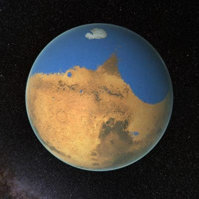 Artist impression of Mars covered in a primitive ocean. Credit: NASA/GSFC.