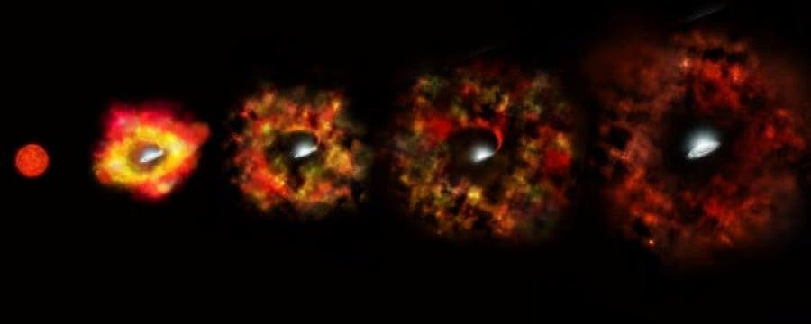 The Expanding Shell Left To Right Of A Failed Red Supergiant Nova Image Credits Nasa
