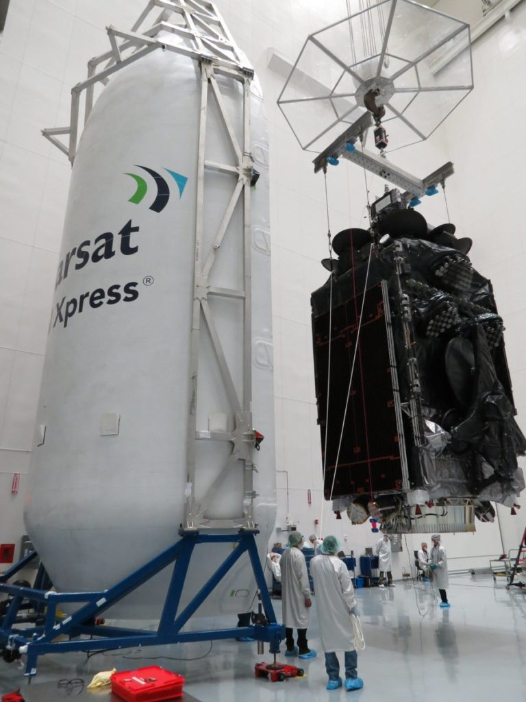 The huge Inmarsat 5 F4 getting ready for take off on a Falcon 9. Credit: Inmarsat.