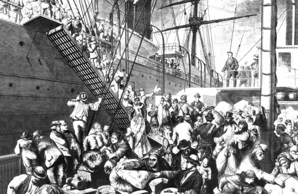 """From the Old to the New World"" shows German emigrants boarding a steamer in Hamburg and arriving in New York. Credit: Harper's Weekly, (New York) November 7, 1874."