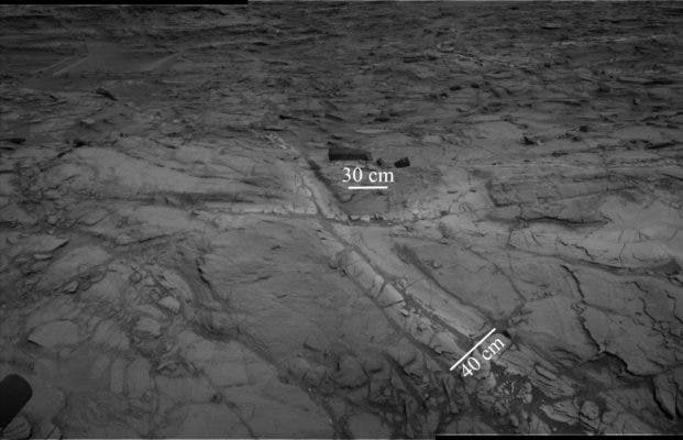 "This images shows ""halos"" of lighter-toned bedrock around fractures. These halos comprise high concentrations of silica and indicate that liquid groundwater flowed through the rocks in Gale crater longer than previously believed. Credit: NASA/JPL-Caltech."