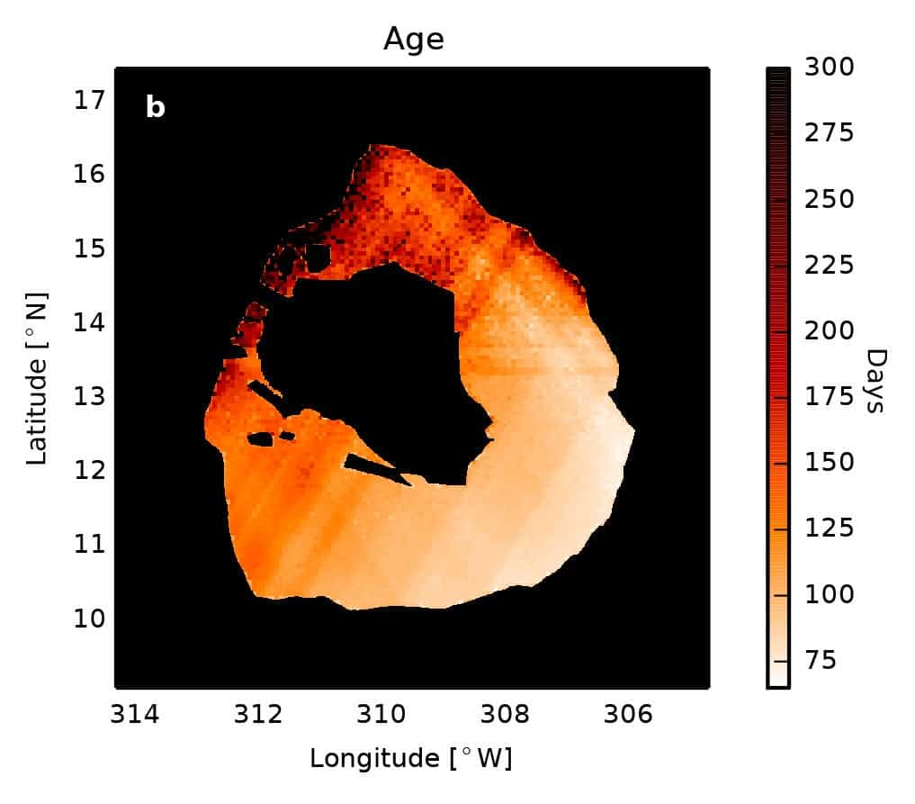 From infrared measurements, the researchers could deduce the age of the lave at the surface of the lake. The youngest is in the lower right, having overturned most recently, about 75 days before the observations. Credit: Katherine de Kleer.