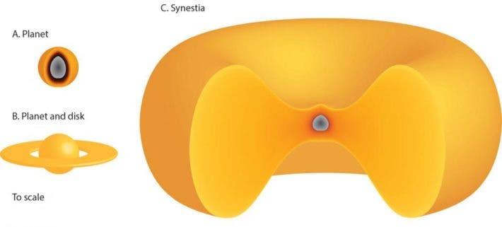 Shaped like a red blood cell, the synestia is the third type of planetary body. Credit: Simon Lock.