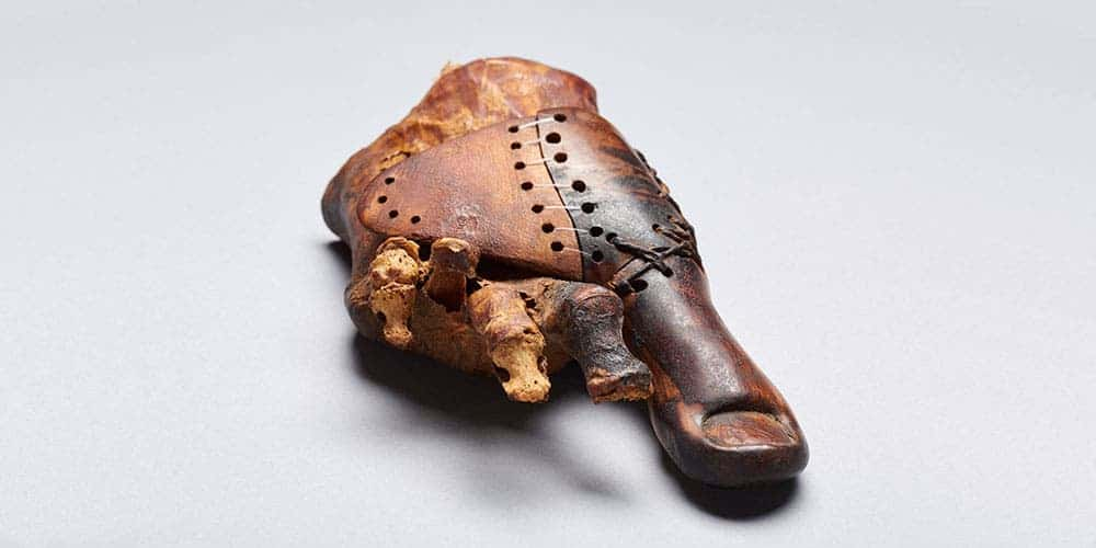Ancient egyptian prosthetic thumb recovered from Theban tomb TT95. Credit: Matjaž Kačičnik.