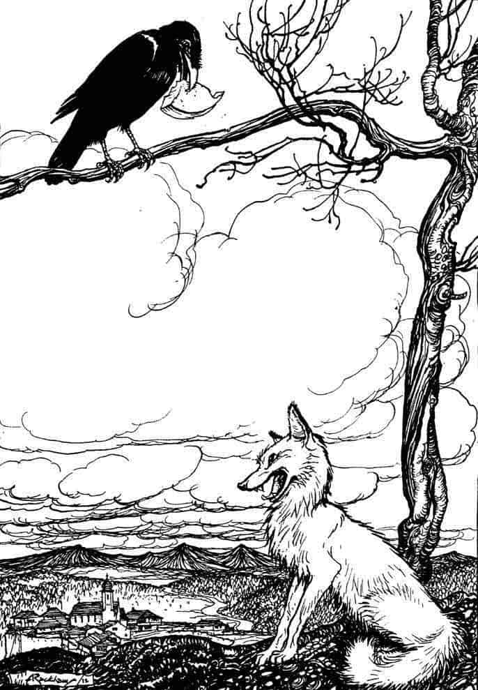 Don't be a dick with ravens, like this fox. Illustration by Arthur Rackham.