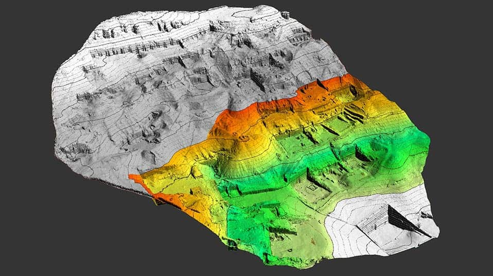 Digital elevation model of the south western part of Sheikh ´Abd el-Qurna's cemetery. Marked in color are the elevations of the excavation site. (© University of Basel, ETH Zurich. Model: E. Friedli/Z. Gojcic)