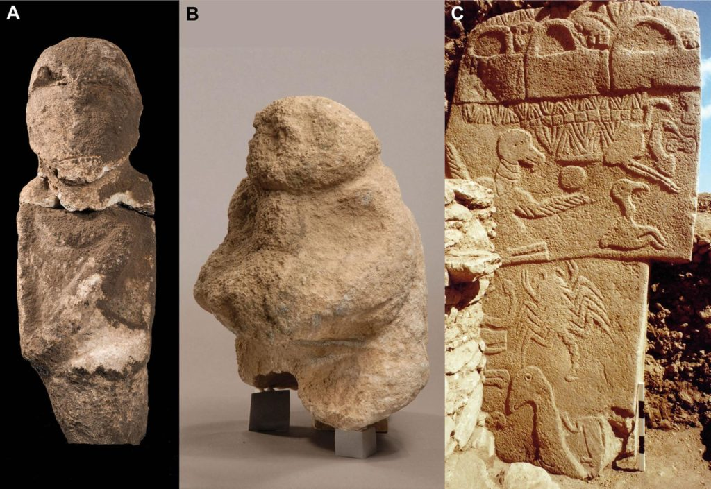 An intentionally decapitated human statue, a figure bearing a human head as a gift, and finally a pillar depicting a bird-like headless individual. These artifacts suggest a skull cult was going on a Gobekli. Credit: GÖBEKLI TEPE ARCHIVE, DAI