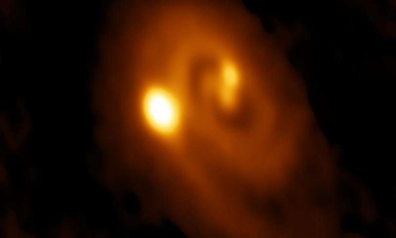 A radio image of a triple star system forming within a dusty disk in the Perseus molecular cloud obtained by the Atacama Large Millimeter/submillimeter Array (ALMA) in Chile. Credit: Bill Saxton, ALMA (ESO/NAOJ/NRAO), NRAO/AUI/NSF.