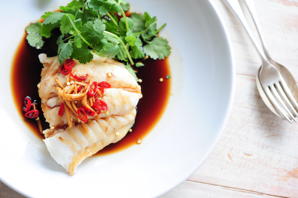 Steamed fish with soy and ginger.