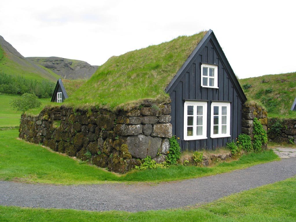Icelandic turf house.